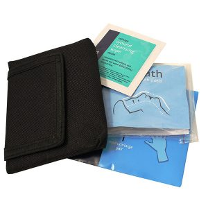 First Aid Belt Pouch - Face Mask, Gloves & Wipe in Pouch