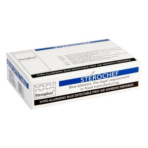 Sterochef Blue Metal Detectable Plasters 7.5cm x 2.5cm (100)
