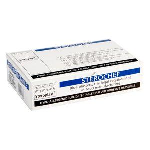 Sterochef Blue Metal Detectable Plasters Finger Extension 15cm x 2cm (50)