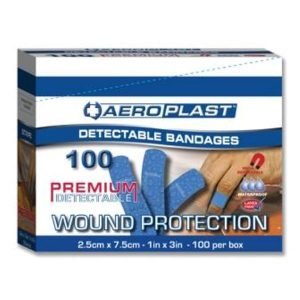Aeroplast Blue Metal Detectable Plasters 7.5cm x 2.5cm (100)