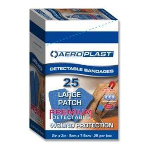Aeroplast Blue Metal Detectable Plasters 7.5cm x 5cm (50)