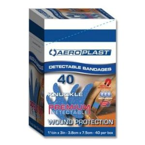 Aeroplast Blue Metal Detectable Plasters Knuckle (40)