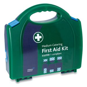 Blue British Standard Compliant BS-8599-1 Workplace Catering First Aid Kit Medium