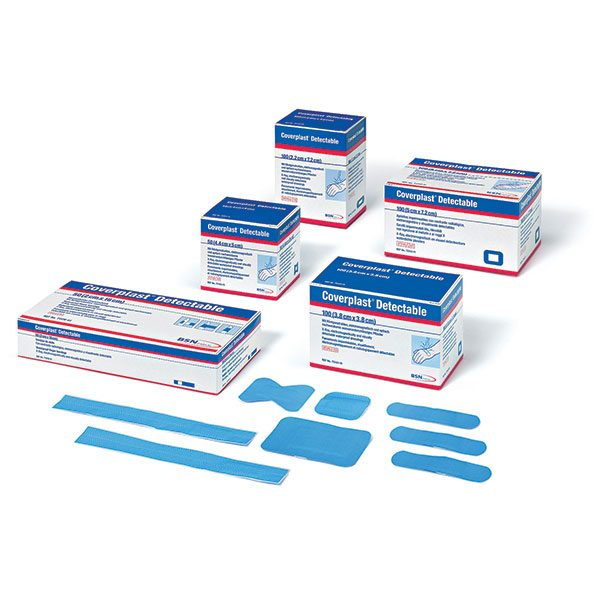 Coverplast Blue Metal Detectable & X-Ray Visible Plasters 3.8cm x 3.8cm (100)