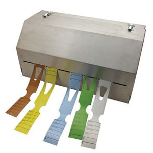Stainless Steel Keyhole Tag Dispenser - Large 8 Rolls