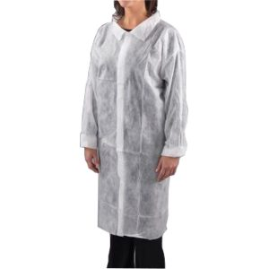 White Disposable Visitor Coats - Velcro Fastening (100)